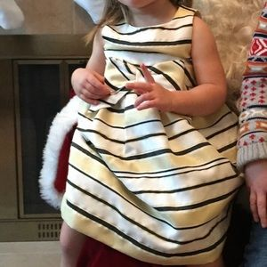 Janie and Jack Special Occasion Dress Navy/White/Gold Stripes. 2T